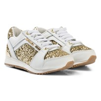 Michael Kors White and Gold Glitter Zia Allie Cali-T Laced Trainers White Gold