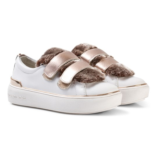 Michael Kors White and Mink Faux Fur Zia Maven Fima Velcro Trainers White