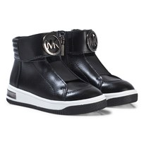 Michael Kors Black Logo Leather Zia Tatum June-T Zip Trainers Black