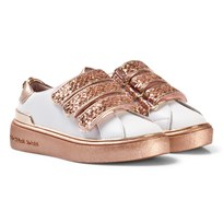 Michael Kors Rose Gold Glitter Velcro Zia Ivy Pom Trainers Rose Gold