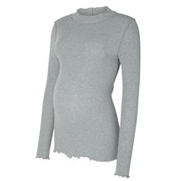 Mamalicious Missy Jersey Maternity Top Light Grey Sort