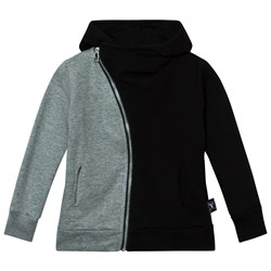 NUNUNU 1/2 & 1/2 Zip Hoodie Black & Heather Grey