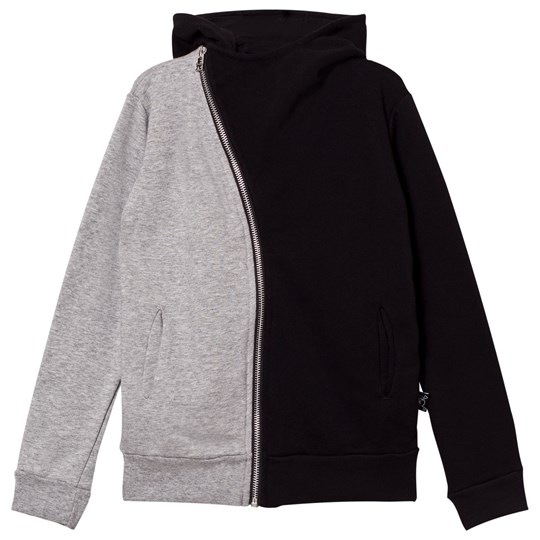 NUNUNU 1/2 & 1/2 Zip Hoodie Black & Heather Grey BLACK & HEATHER GREY