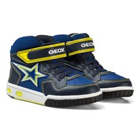 Geox Navy and Lime Junior Gregg Light Up Hi Top Trainers C0749