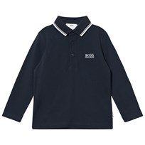 BOSS Dark Blue Long Sleeve Branded Polo 858