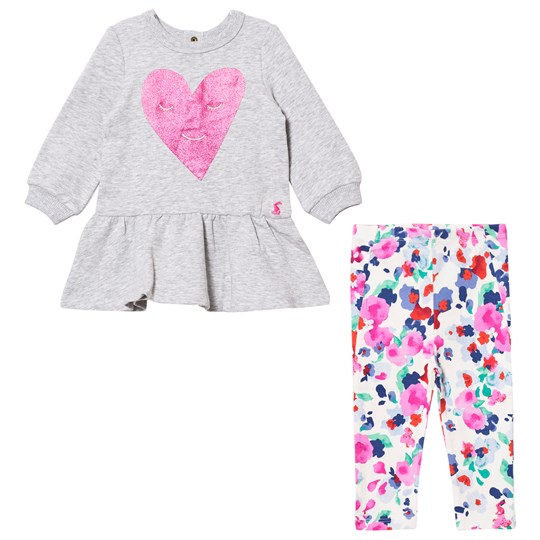 Tom Joule Grey Marl Glitter Heart Print Dress with Floral Leggings Set GREY MARL HEART