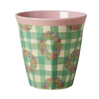 Rice Melamine Medium Cup with Vichy Print Vichy Print