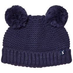 Tom Joule Navy Knit Hat with Pom Poms