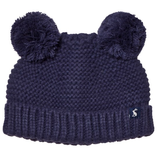 Tom Joule Navy Knit Hat with Pom Poms French Navy