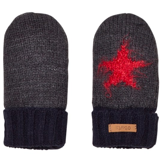 Barts Grey and Black Star Milkyway Mittens 19 DARK HEATHER