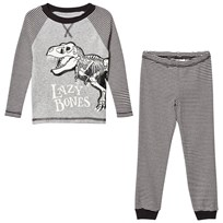 Tom Joule Dark Grey Stripe Dinosaur Pyjamas DARK GREY STRIPE