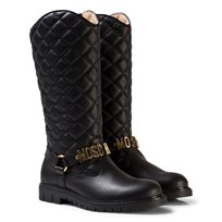 Moschino Kid-Teen Black Leather Quilted Branded Tall Boots NERO