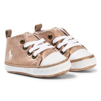 Ralph Lauren Pink Shimmer Logo Crib Shoes Pink Shimmer w/ Paper White PP