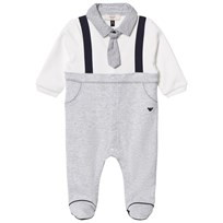 Armani Junior Footed Baby Body Mock Outfit White/Grey 3928