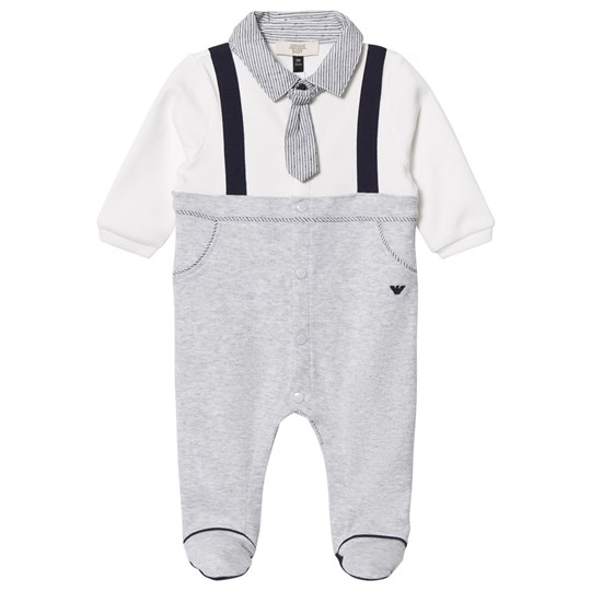 Emporio Armani Footed Baby Body Mock Outfit White/Grey 3928