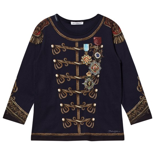 Dolce & Gabbana Navy Military Print Long Sleeve Tee HBD50