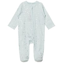 Aden + Anais Pale Blue Silver Star Metallic Footed Baby Body Metallic Skylight