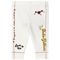 Dolce & Gabbana White Branded Print Leggings HWF48