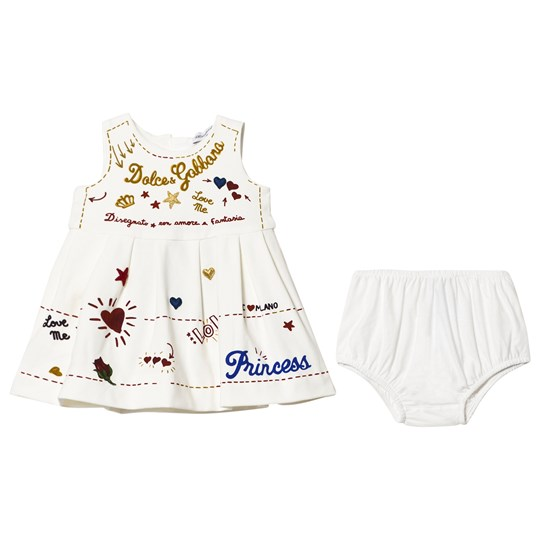 Dolce & Gabbana White Print and Applique Branded Dress and Knickers Set HWF48