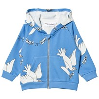Mini Rodini Peace Zip Huvtröja Blå Blue
