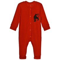 Mini Rodini Panther Wool One-Piece Red Red