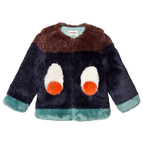 Bobo Choses Faux Fur Jacket Eyes Blue