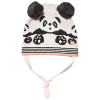 The Bonnie Mob Panda Jaquard Hat with Pom Pom Ears Pale Pinks Pale Pinks