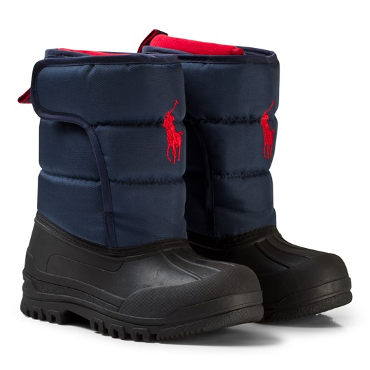 Ralph Lauren Navy Hamilten II Snow Boots Red Pony Navy Heavy Nylon w/ Red PP