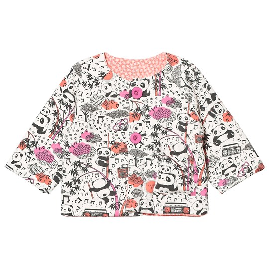 The Bonnie Mob Reversible Padded Baby Jacket Print Panda Panda Print Pinks