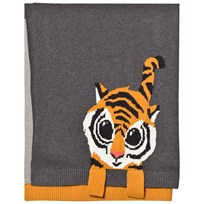 The Bonnie Mob Tiger Jacquard Baby Blanket Grey Greys