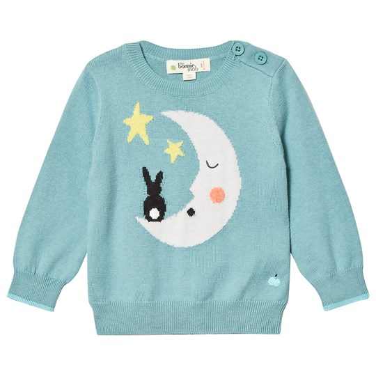 The Bonnie Mob Moon And Bunny Intarsia Sweater Pale Teal Pale Teal