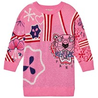 Kenzo Pink Knit Multi Tiger Motif Dress 320
