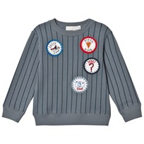 Stella McCartney Kids Blue Stripe Badge Biz Sweatshirt 4303
