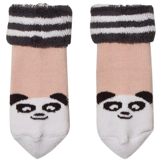 The Bonnie Mob Baby Bootie Panda Socks Pale Pink Pale Pink