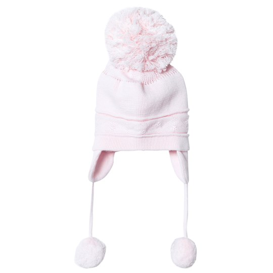 Emile et Rose Griffin Pink Bobble Hat with Ear Flaps Pale Pink