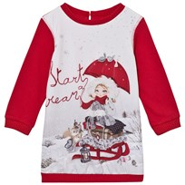 Mayoral Red Snow Girl Print Sweat Dress 17