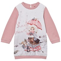 Mayoral Pink Snow Girl Print Sweat Dress 16