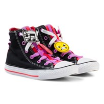 Converse Black Chuck Taylor All Star Emoji Energy Loophole Hi Tops BLACK/ULTRA RED