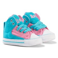 Converse Blue/Pink Chuck Taylor All Star First Star High Street Hi Tops Crib Shoes Fresh Cyan/Pink Glow/White