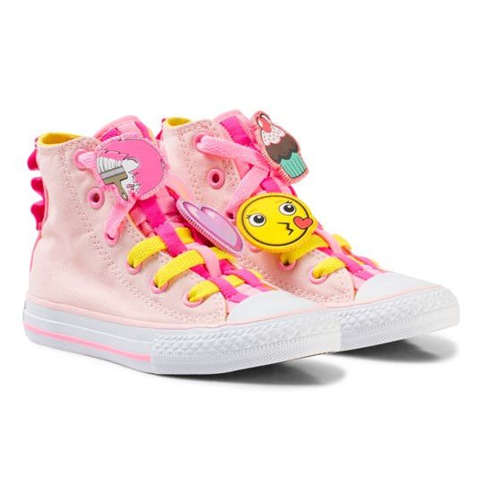 Converse Pink Chuck Taylor All Star Emoji Energy Loophole Hi Tops Sneakers vaporpink/fresh