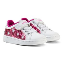 Lelli Kelly White and Pink Star Glitter Velcro Trainers WHITE/FUCHIA