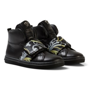 Image of Young Versace Black and Gold Baroque Print Medusa High Top Trainers 32 (UK 13) (2743716229)