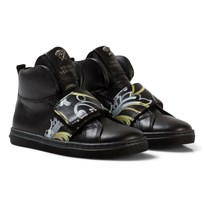 Young Versace Black and Gold Baroque Print Medusa High Top Trainers