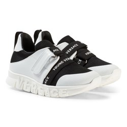 Versace Black and White Branded Trainers with Logo Sole