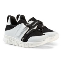 Young Versace Black and White Branded Trainers with Logo Sole