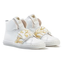 Young Versace White and Gold Baroque Print Medusa High Top Trainers