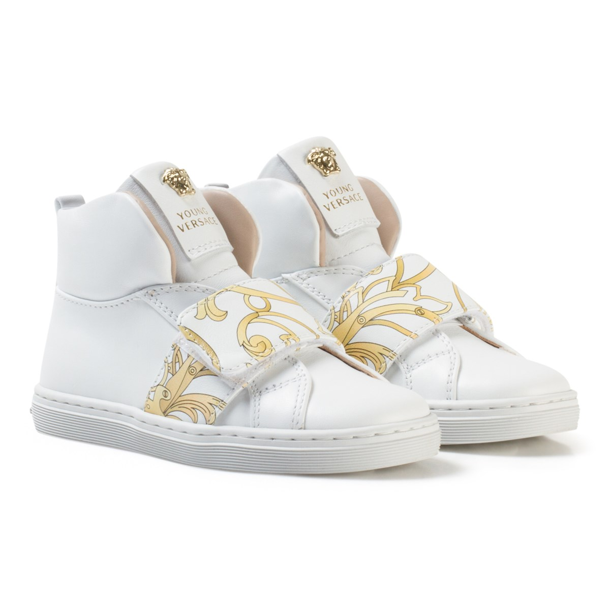 af68d552 Versace - White and Gold Baroque Print Medusa High Top Trainers ...