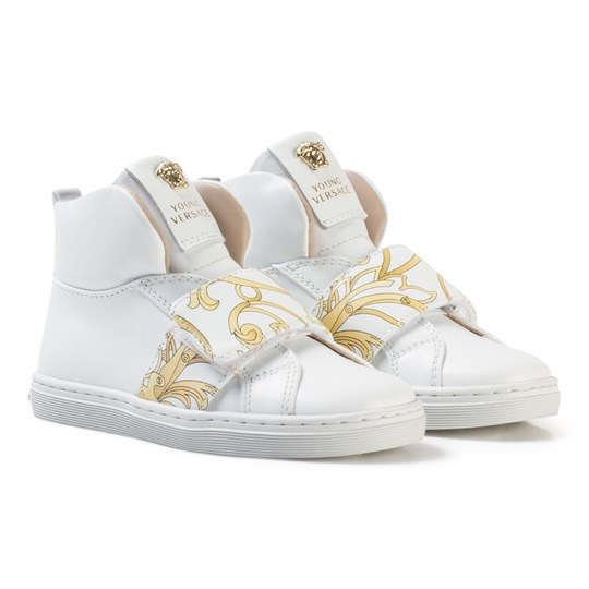Versace White and Gold Baroque Print Medusa High Top Trainers