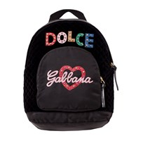 Dolce & Gabbana Black Leather and Nylon Embellished Branded Backpack 80999
