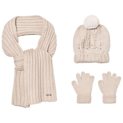 Mayoral Cream Knitted Pom Pom Hat, Scarf and Mittens Set